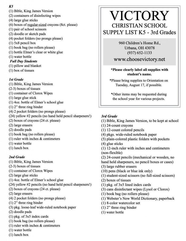 Supply List 21:22